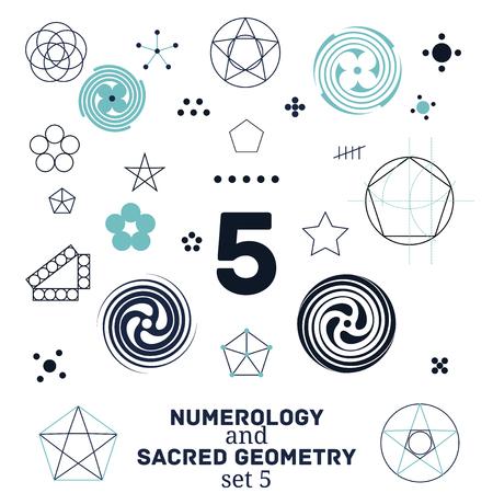 Sacred geometry and numerology symbols vector illustration. Set of number five. Design for meditation, spiritual geometry