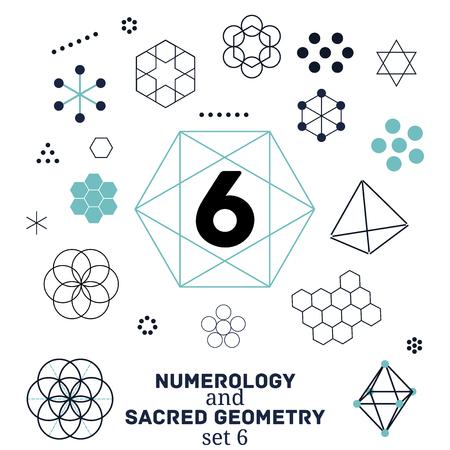 Sacred geometry and numerology symbols vector illustration. Set of number six. Design for meditation, spiritual geometry Illustration