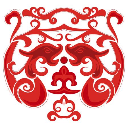 Dos dragones rojos en estilo chino. Elemento para el diseño de tatuajes o postales. Foto de archivo - 74783998