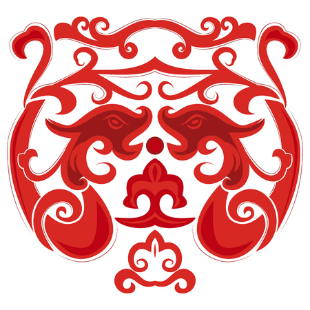 Two red dragon in Chinese style. Element for the design of tattoos or postcards.