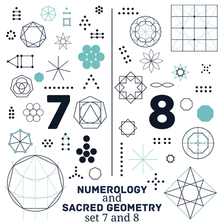 Sacred geometry and numerology symbols vector illustration. Set of numbers seven and eight. Design for meditation, spiritual geometry