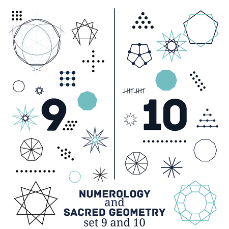 Sacred geometry and numerology symbols vector illustration. Set of numbers nine and ten. Design for meditation, spiritual geometry Vector Illustration
