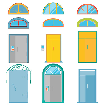 Vector set of colorful doors and fanlights isolated on white background. Blue, yellow, gray, purple, turquoise.
