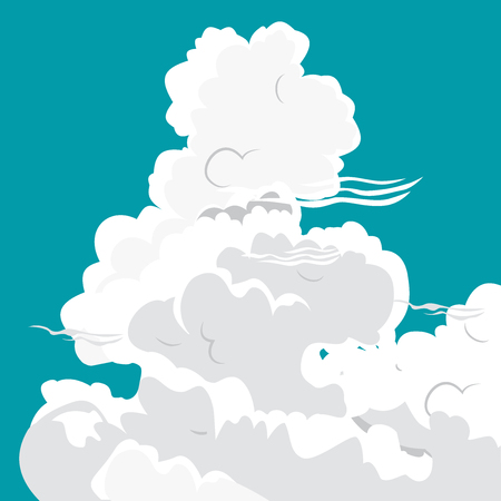 overcast: White clouds of different shapes on a blue background Illustration