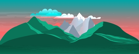 The landscape of mountains and sunset with beautiful clouds. Vector illustration