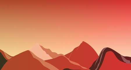 Landscape red mountains on Mars