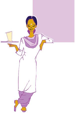 serviteurs: travail en s�rie indian serveuse