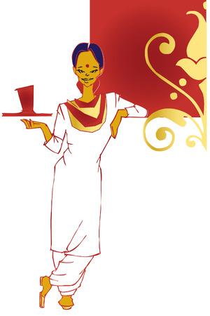 job series -indian waitress  Illustration