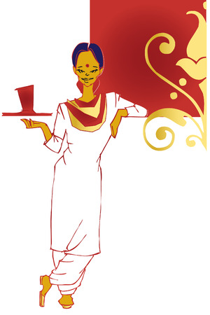 accommodate: job series -indian waitress  Illustration