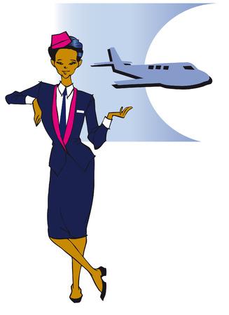 azafata de vuelo: serie de puestos de trabajo - Asia azafata  Vectores