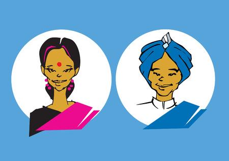 caricaturas de personas: retrato serie - India pareja  Vectores