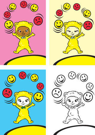 children series / morals values / happyness,anger and imperturbability Stock Vector - 3023232