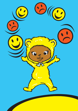 children series  morals values  happyness, anger and imperturbability  Illustration