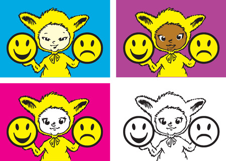 children series / human values / happyness, anger and imperturbability Stock Vector - 3028259