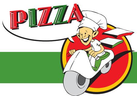ailment: serie de puestos de trabajo - pizzaiolo y pizza  Vectores