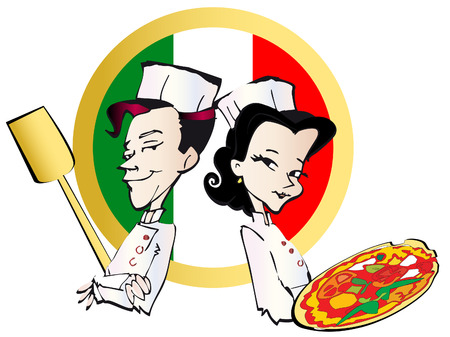 job series - pizzaiolo and pizza Stock Vector - 3055987