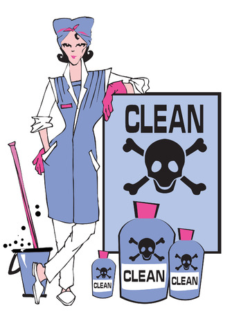 work environment: job series - cleaner and dangerous products Illustration