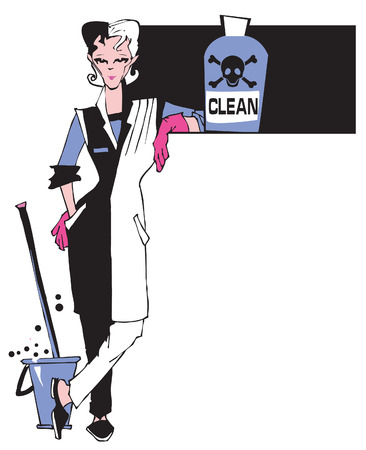 cleaning up: job series - cleaner and dangerous products Illustration