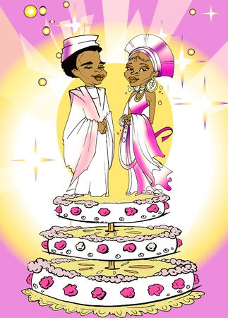 matrimonial: seasonal series - African couple just married� cartoon style Stock Photo