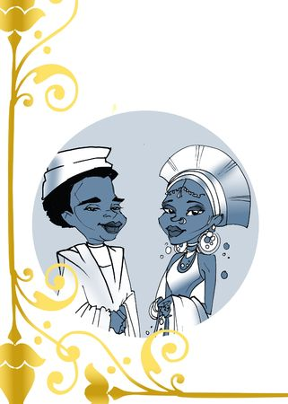 matrimonial: seasonal series - African couple just married, cartoon style