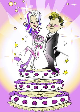 net getrouwd: seizoensgebonden serie - Kaukasische paar net getrouwd, cartoon stijl