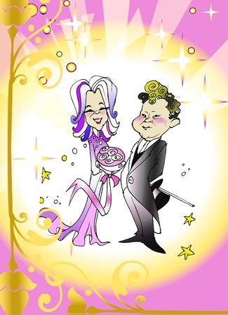 matrimonial: seasonal series - Caucasian couple just married, cartoon style