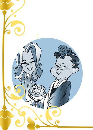matrimonial: seasonal series - Caucasian couple just married,� cartoon style Stock Photo