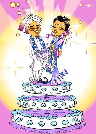 "matrimonial: seasonal series - Indian couple ""just married"" cartoon style"