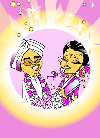 seasonal series - Indian couple just married,� cartoon style photo