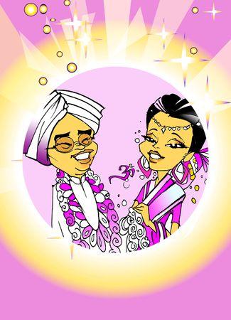 net getrouwd: Seizoensgebonden serie - Indiase paar net getrouwd, � cartoon stijl Stockfoto