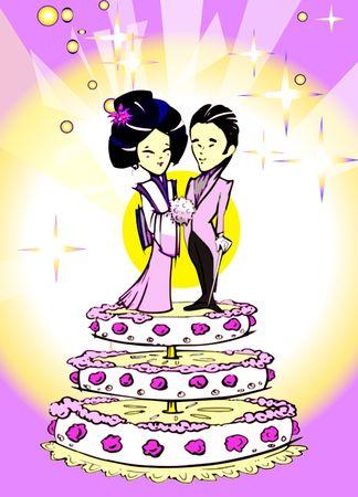 seasonal series - Japanese couple just married, cartoon style Stock Photo - 3645360