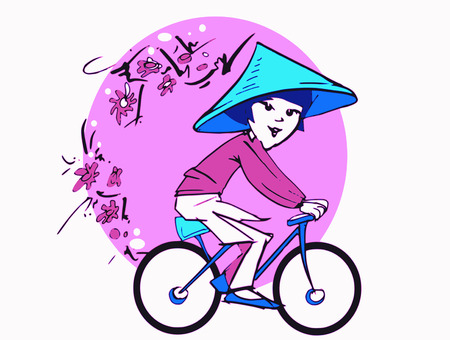 sport series - girl and cycle    vector    Vector