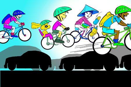 air pollution cartoon: sport series - byke or cycle