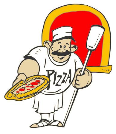 caricaturas de personas: serie de empleo - Pizzaiolo