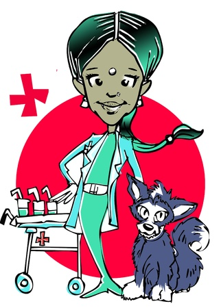 veterinary (indian woman) clipart photo