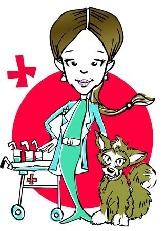 veterinary (caucasian woman) clipart Stock Photo - 8653480