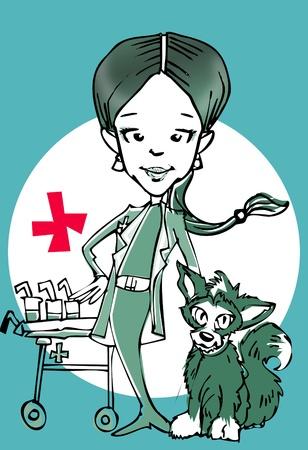 veterinary (caucasian woman) clipart photo