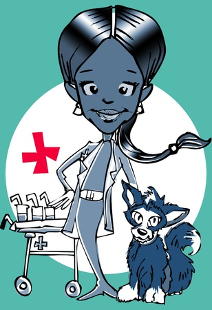 veterinary-(african american hispanic woman) clipart photo