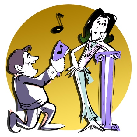 matrimonial: couples caricature illustrationclipart
