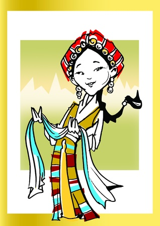 tibetan: Cartoon Tibetan girl Stock Photo