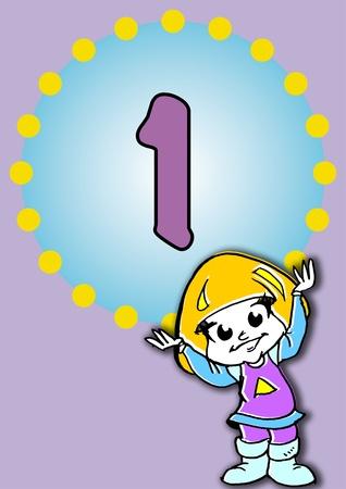 first birthday: illustration for a birthday Stock Photo