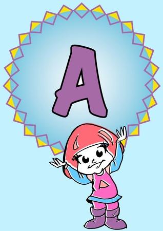 pedagogy: child hold an alphabet A