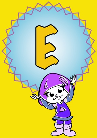 pedagogy: child hold an alphabet E