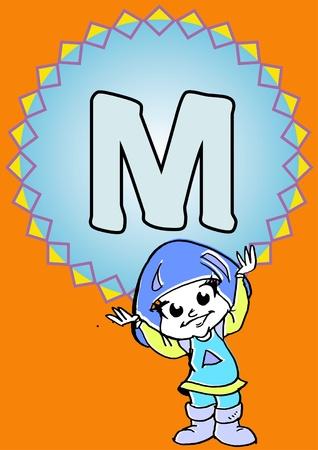 pedagogy: child hold an alphabet M