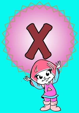 pedagogy: child hold an alphabet X