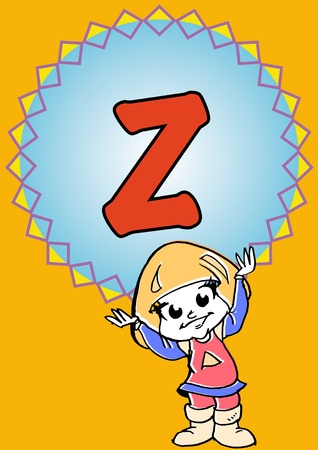 child hold an alphabet Z photo