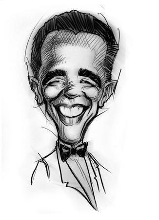 obama: Hand-draw caricature from Barak Obama Editorial