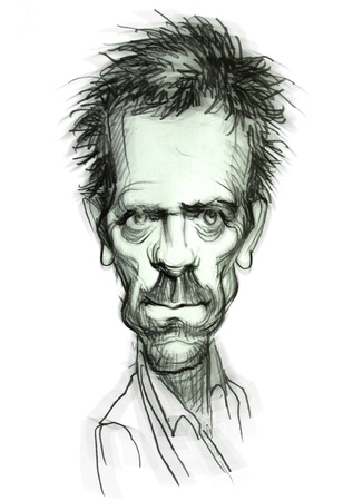 hugh: Hand-draw caricature from Hugh Laurie (Dr.House) Editorial