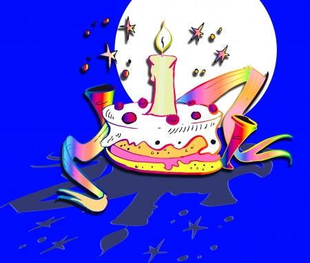 isoladed: cake for birthday invitation - cartoon style