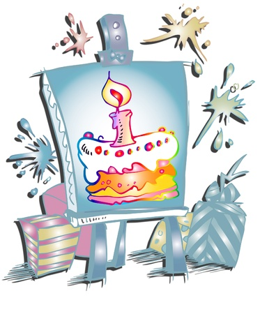 isoladed:  birthday invitation - cartoon style